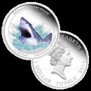 1 доллар 2011г. Пруф Большая белая акула (Тувалу)