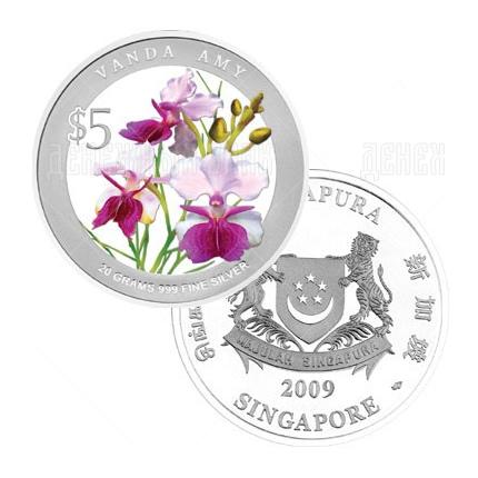 5 долларов 2009г. Пруф Орхидея Ванда