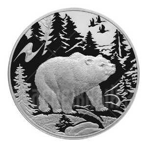 3 рубля 2009г. Пруф СПМД Медведь